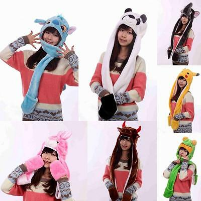 Plush Cartoon Animal Winter Hooded Hat Beanie with Long Scarf Mittens Gloves A01