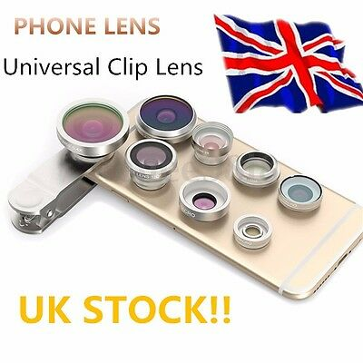 8 in1 Clip On Camera Lens Fisheye +Wide Angle+Macro For Universal Cell Phones