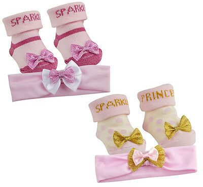 Baby Girl New Cute sparkle princess Socks And Headband Set  0- 6 12 Months