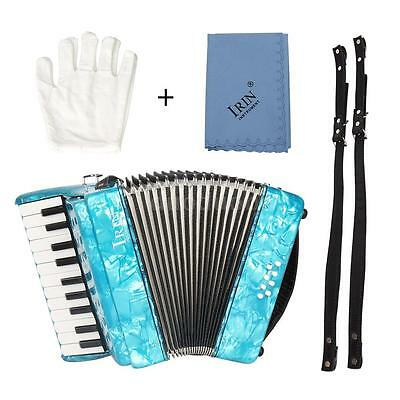 22-Key 8 Bass Piano Accordion with Straps Gloves Cleaning Cloth Blue V2P2