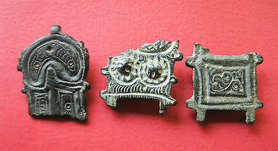 A Group of ThreeVisigothic Bronze Belt Plate Fragments 5th - 7th Century AD