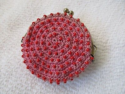 Vintage Coin Purse/pink/crocheted W/beads/used