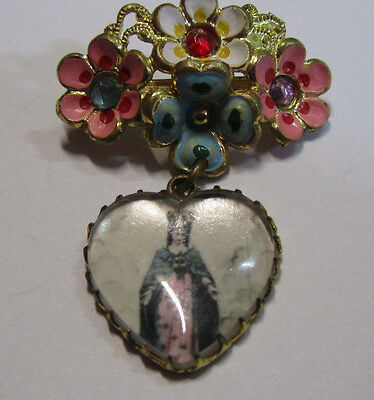 "† Vintage ""crowned Mary"" Pink Blue White Painted Flower Gold Toned Drop Brooch"