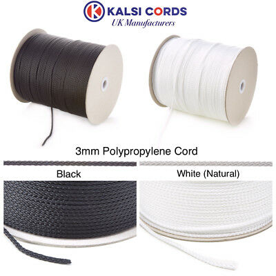 3Mm Thin Polypropylene Rope Braided Poly Cord Strong String In Black & Natural