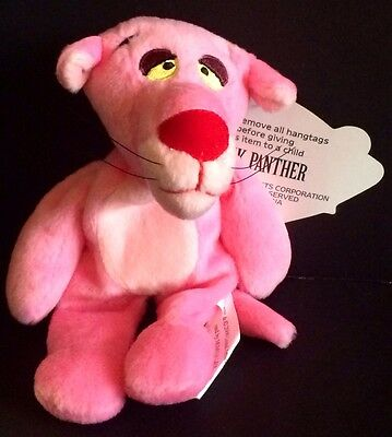"""Pink Panther Plush 7"""" Stuffed Animal 2000 United Artists Pictures"""