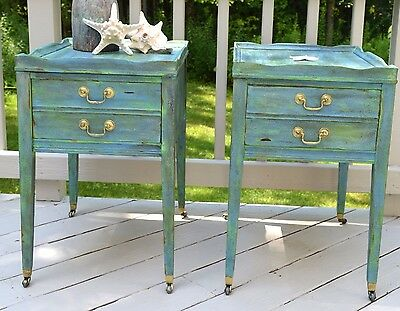 Pair of Nautical Style Vintage End Tables, Salt Washed, Beach House Decor
