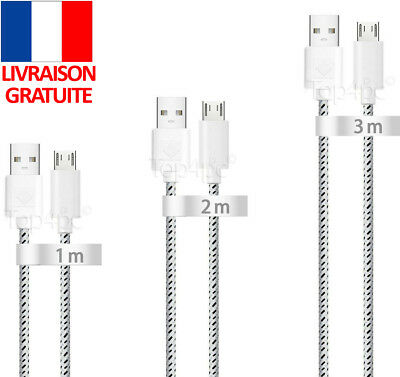 Chargeur Pour Huawei Honor Ascend G P Y Renforce Cable Micro Usb Universel Blanc
