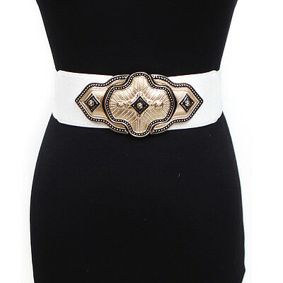 WOMEN ELASTIC Gold Metal BUCKLE WAIST Stretch Wide Belt Western Fashion White