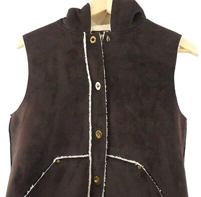 Ralph Lauren Womens Brown Button Warm Hooded Vest Front Pockets Size S