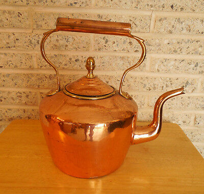 Antique Copper & Brass Tea Kettle, acorn Finial