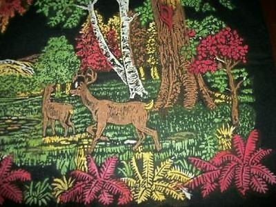 Chic Antique Black Painted Flannel Pillow Cover Deer Forest Shabby Rare