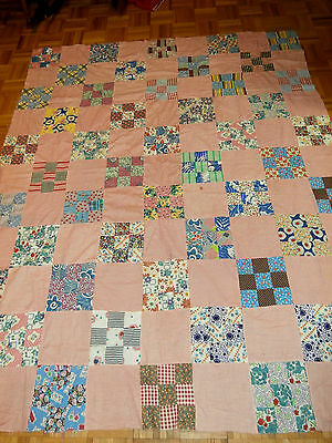 "Antique Vintage 9 Patch pattern quilt top 69"" x 83"" Great early Fabrics"