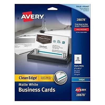 Avery Clean Edge Business Cards, 2 inches x 3 1/2 inches, White, 90 Cards New