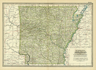 Century 1899 Arkansas Original Antique Color Map