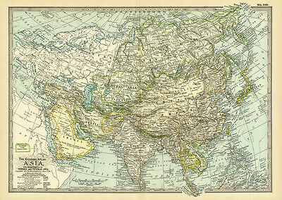 Century 1899 Original Asia Antique Color Map