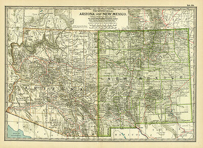 Century 1899 Arizona // New Mexico // Original Antique Color Map