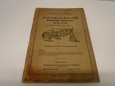 1936 McCormick-Deering Farmall Tractor Model F-30 Instruction Book Manual