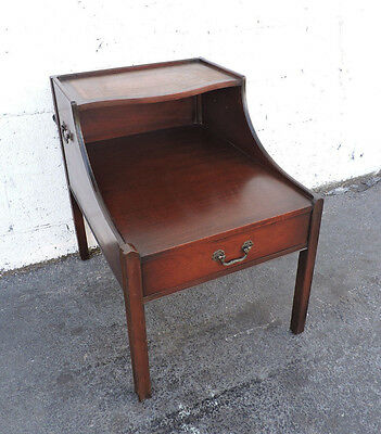 Leather Top Mahogany Lamp Side Table End Table by John Stuart Inc 8248