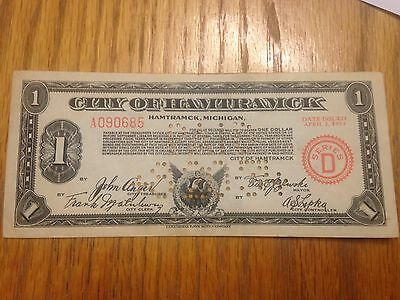 City Of Hamtramck Michigan Canceled Bank Note Depression Era  Scrip