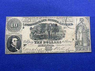 **SCARCE T-30** 1861 $10 Confederate States of America Currency