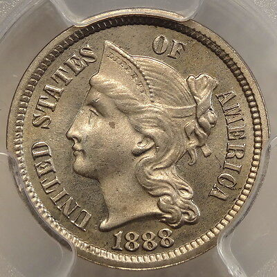 1888 Three Cent Nickel, PCGS Certified Proof 64, Slabbed