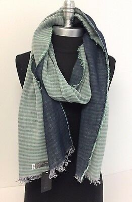 New Men's Fashion Scarf Shawl Long Striped Tassel Wrap Color Green/White/Blue
