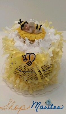 Bumble Bee Baby Shower Diaper Cake Birthday Cake Topper Decoration Figurine