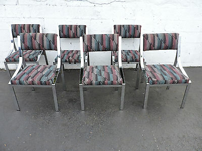 Six Hollywood Regency Mid Century Modern Chrome Dinning Room Chairs 7466