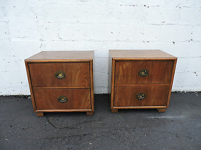 Pair of Hollywood Regency Nightstands End Tables Chevron by Dixie 7095
