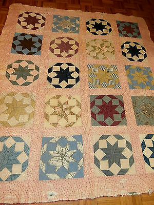 """Antique Rising Star pattern quilt cutter or repair 65"""" x 75""""  late 1800's"""