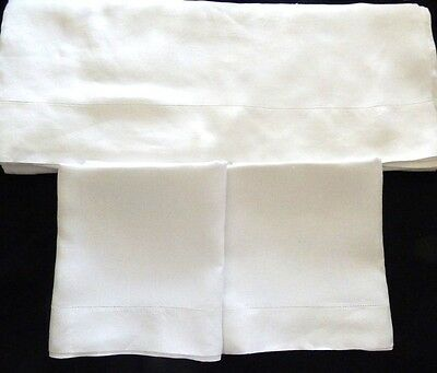 Antique LINEN Oversize Sheet Set w Large Pillowcases All  Hemstitched