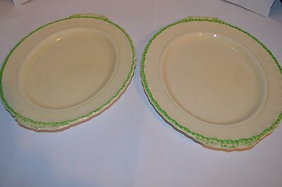 2 Vintage 1930S Grindley Cream And Green Serving Plates