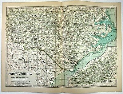 Original 1897 Map of North Carolina by The Century Company