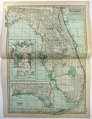 Original 1897 Map of Florida by The Century Company