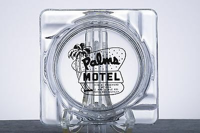 Retro Vintage Glass Ashtray from Palms Motel - Royal Oak, Michigan