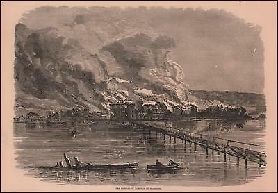 Hampton, Virginia, Civil War Burning Of Town, Antique Engraving Original 1886