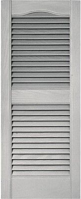 Louvered Vinyl Exterior Shutters 15 in. x 36 in. Pair Paintable for Windows