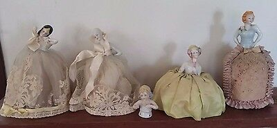 5 Antique Lady Pin Cushion Dolls Porcelain Lace Victorian Sewing