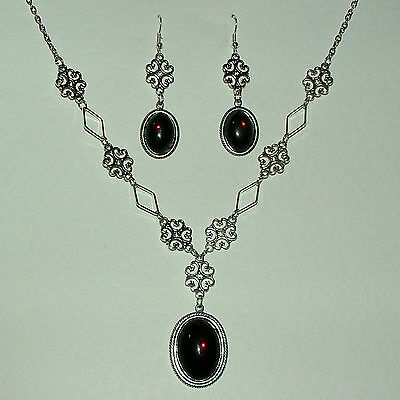 Lacy Filigree Victorian Stl Deep Red Crystal Dark Silver P Necklace Earrings Set