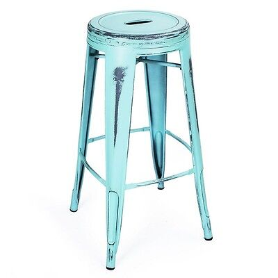 Adeco Antique-Style Sky Blue 30-Inch Metal Bar Stools, Set of 2 - CH0156-1