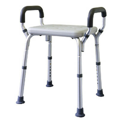 MLE Shower Stool, Aluminium Height Adjustable with Arms, Making Life Easy