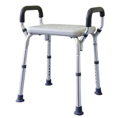 Shower Stool, Aluminium Height Adjustable with Arms MLE Making Life Easy