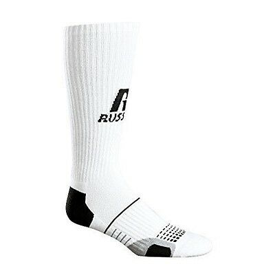 3 6 Pair Russell Athletic Men's Performance Grew Sock White W/Bk Heel N Toe M-XL