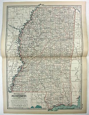Original 1897 Map of Mississippi by The Century Company