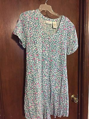 Oh! mamma green floral print 100% rayon maternity short sleeve romper - size L
