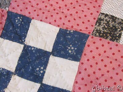 Farm House c 1890s Nine Patch Antique TABLE Quilt