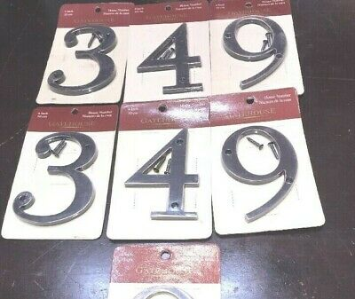 "Gatehouse House Lot Of 7 House Numbers~4"" Tall~New In Sealed Package 3493499"