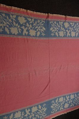 1930's Pink Camp Blanket -Blue/Cream Border-Birds/Butterflies/Flowers-61x68-SALE