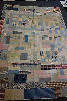 """1930'S Quilt- Pastel Patchwork Pattern-57""""x83""""- Spring Flowers Backing- PRETTY"""