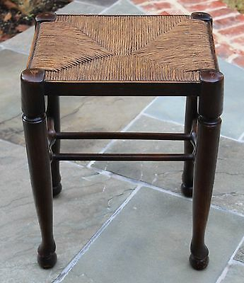 Antique French Country Dark Oak Tall Rush Seat Bench Foot Stool